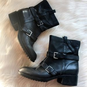 Cole Haan Nike moto harness ankle boots leather